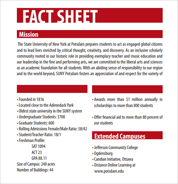 sample fact sheet format - Apmayssconstruction