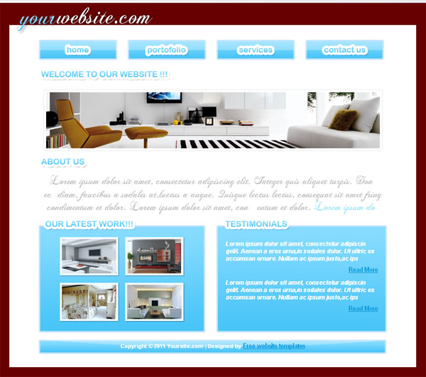 Free Interior design company css web template Templates Perfect