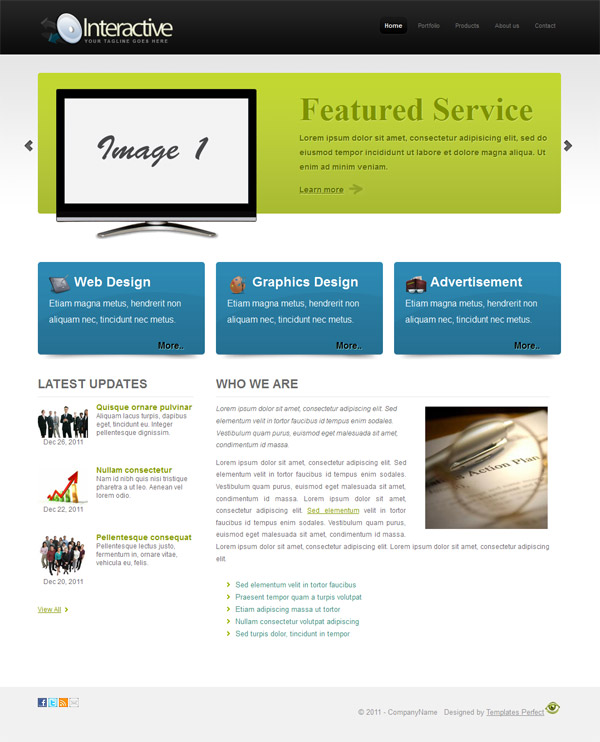 Free CSS Business website template \u2013 Interactive Templates Perfect - interactive website template