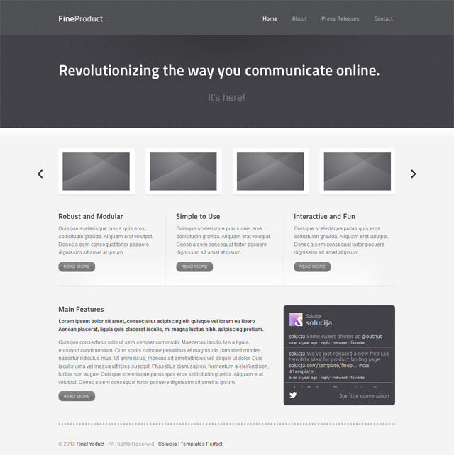 Product showcase website template Templates Perfect - interactive website template