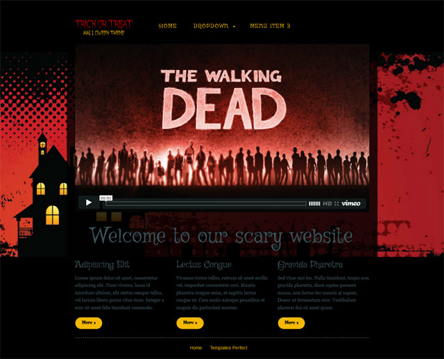 Free Trick or Treat halloween web template Templates Perfect - halloween website template