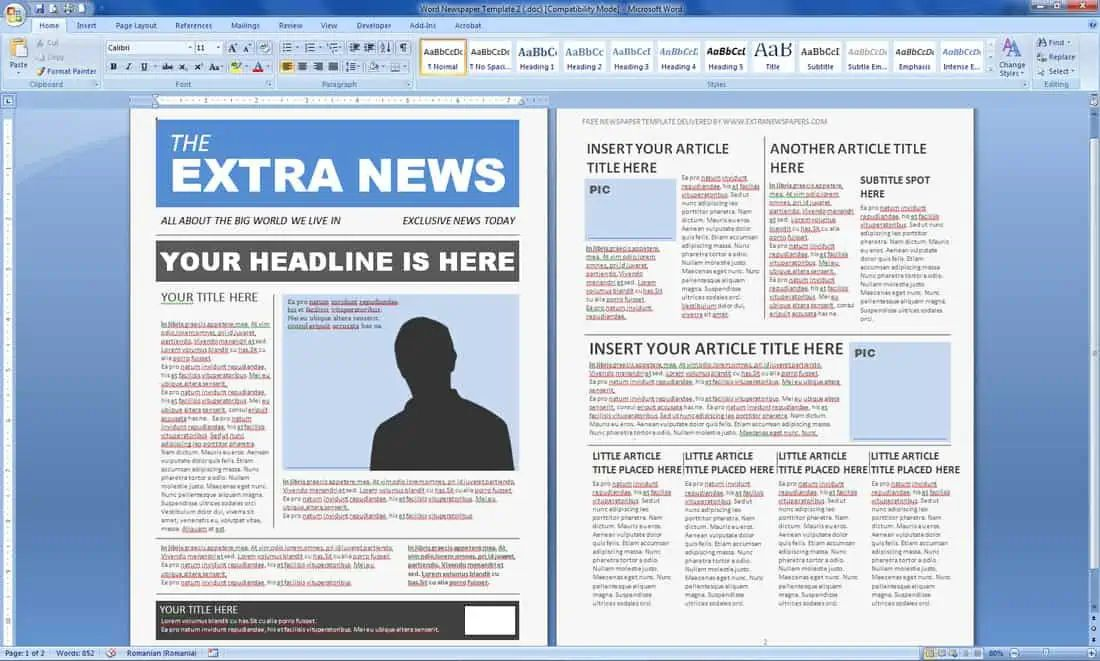 news article template microsoft word