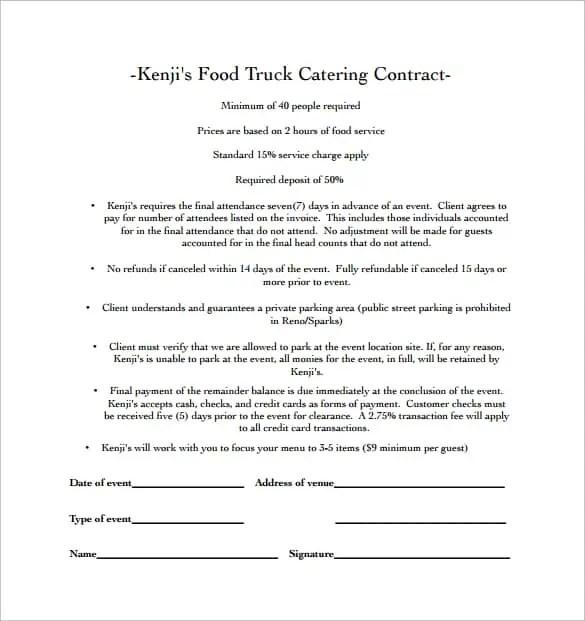 wedding catering contract template - Alannoscrapleftbehind - event menu template