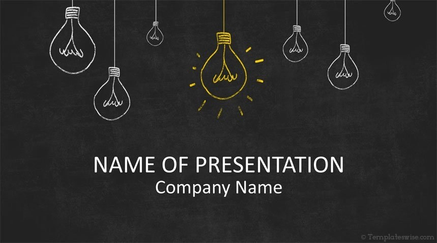 Light Bulbs on Blackboard PowerPoint Template - Templateswise