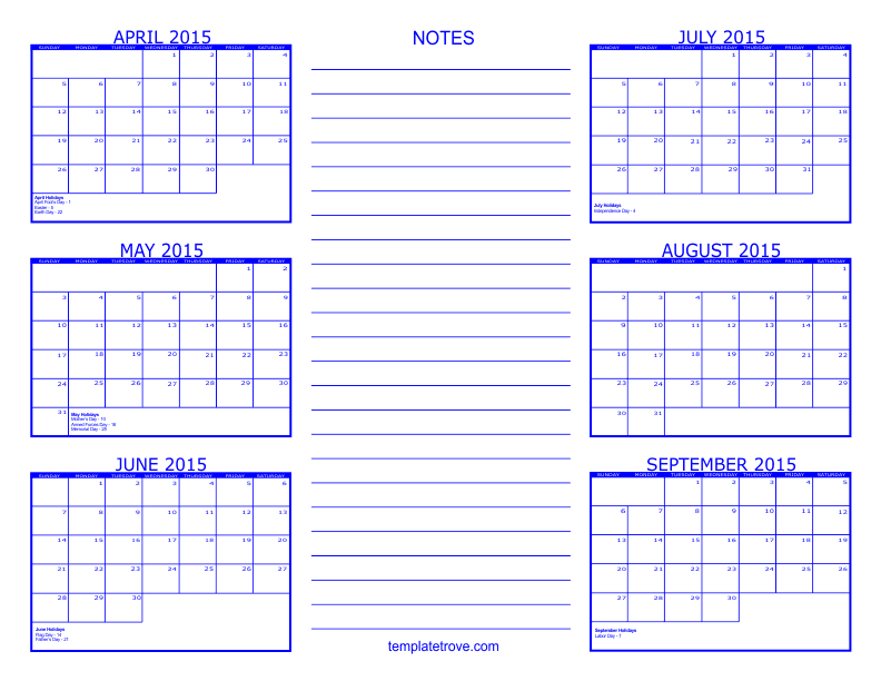 april calendar template 2015