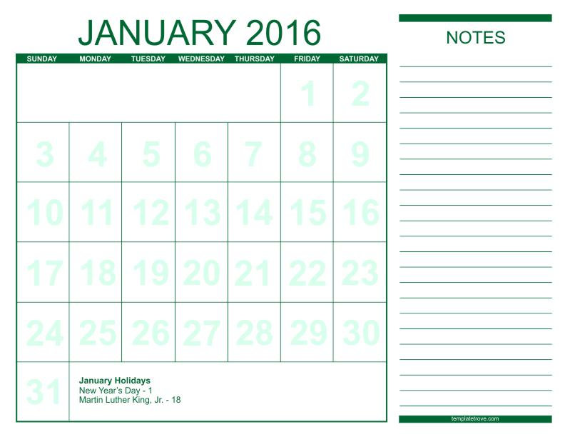 monthly calendars to print