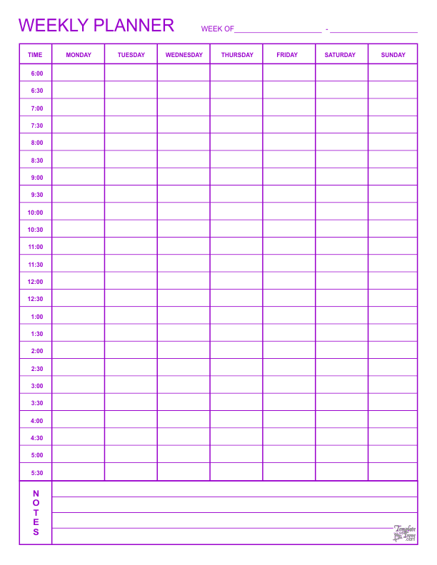day by day planner template