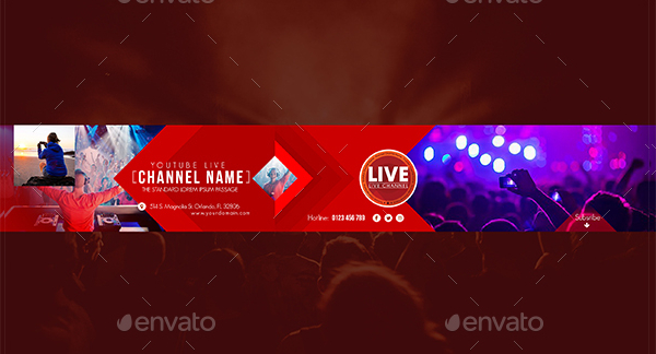 youtube banner template download photoshop clean simple blue banner