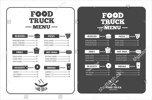 21+ Food Truck Menu Templates - Free  Premium Download - food truck menu template