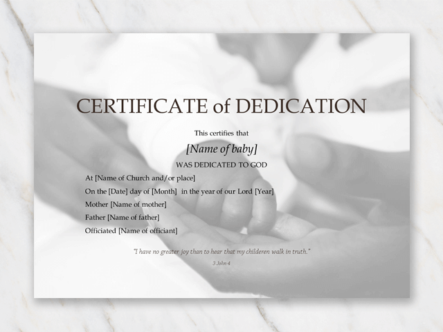 baby dedication certificate download