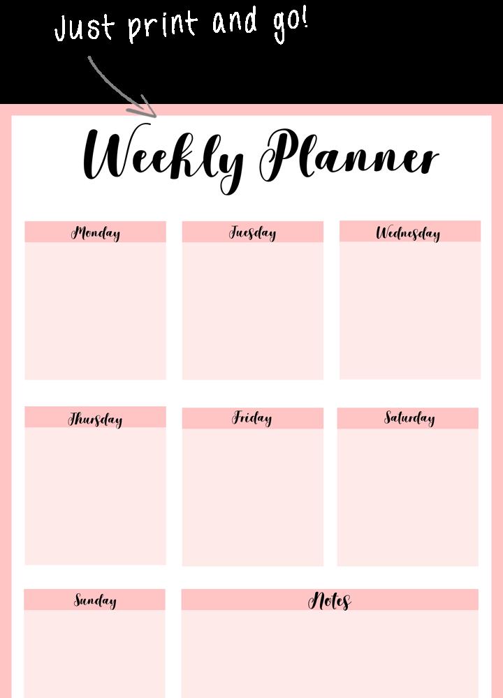 monthly agenda planner