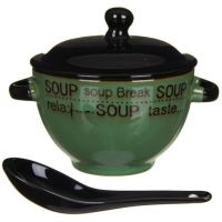 Green Soup Bowl With Lid & Spoon | Temptation Gifts