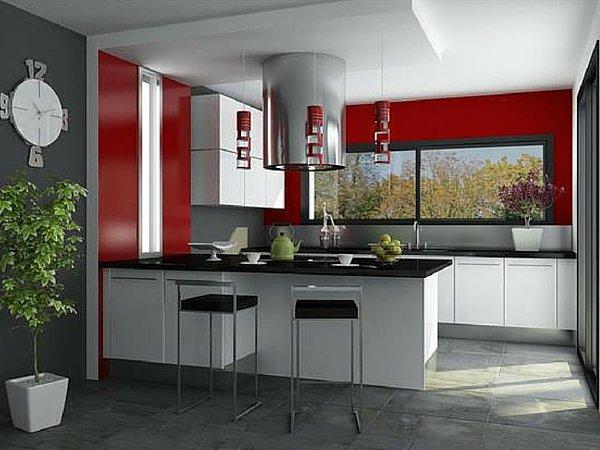 Couleur peinture cuisine rouge - tendancesdesignfr