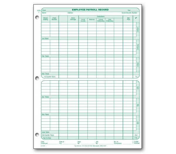 Employee Payroll Record 25 Pack - Item #23-100