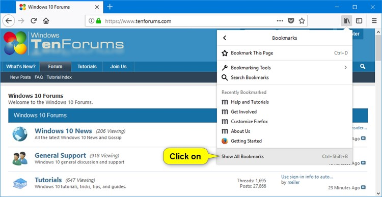 Import Bookmarks from Chrome to Firefox in Windows Windows 10 - bookmark size