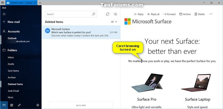 Turn On or Off Caret Browsing in Windows 10 Mail app Windows 10