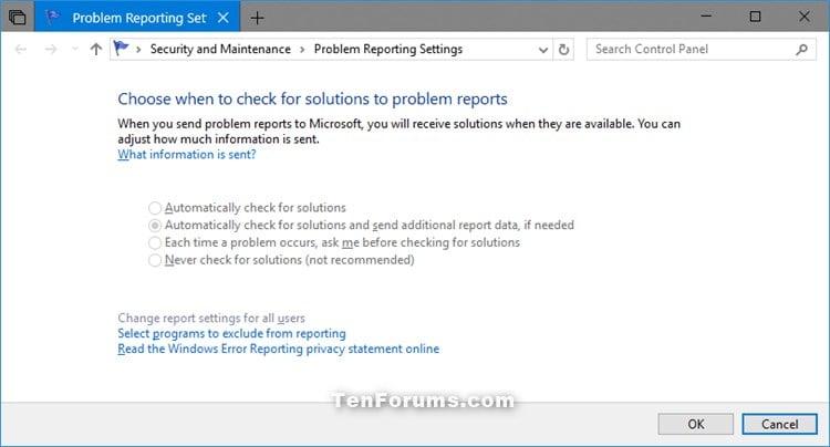 Change Windows Error Problem Reporting Settings in Windows 10