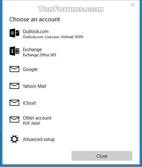 Add or Delete Account in Windows 10 Mail app Tutorials