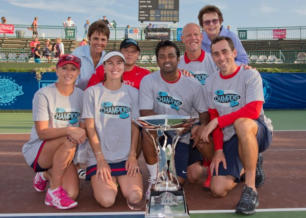 Photo of 2014 Mylan WTT Champion Washington Kastles attached – photo credit Camerawork USA. (front row – Anastasia Rodionova, Martina Hingis, Leander Paes, Bobby Reynolds; back row – Mylan WTT CEO/Commissioner Ilana Kloss, Washington Kastles owner Mark Ein, Kastles coach Murphy Jensen and Mylan WTT co-founder Billie Jean King).