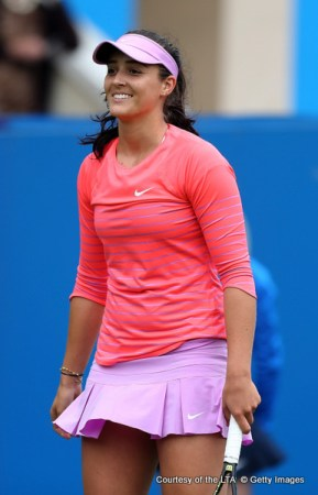 EASTBOURNE, ENGLAND - JUNE 20:  Laura Robson at Devonshire Park on June 20, 2015 in Eastbourne, England.  (Photo by Ben Hoskins/Getty Images for LTA)