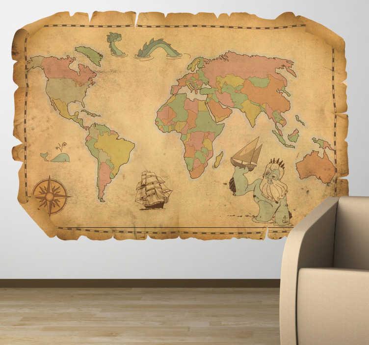 Adesivo bambini cartina del mondo antica - TenStickers