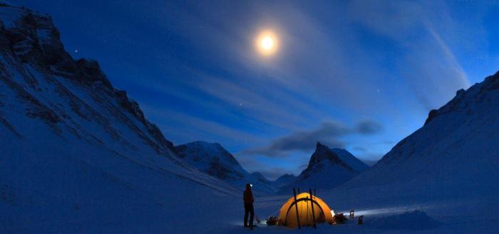 Winter Camping in the night