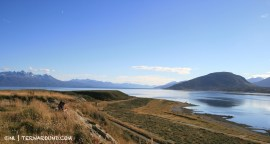 The airport is located on a peninsula in the Beagle channel