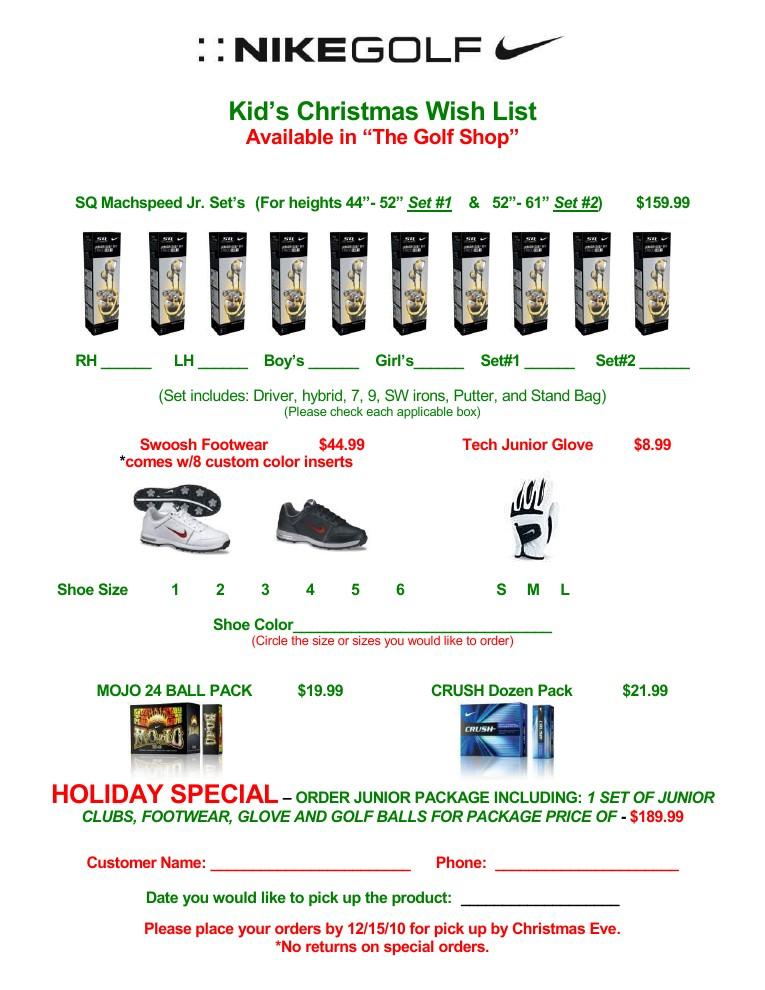 Terrace Park Country Club Nike Kid\u0027s Junior Golf Wish List