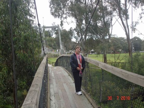 On-the-Suspension bridge across the Plenty River