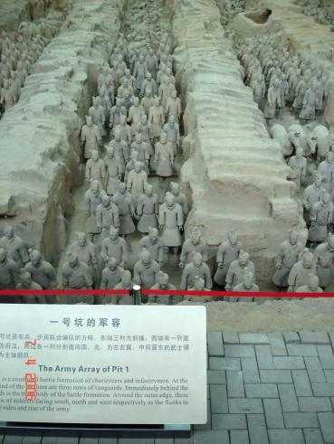 Pit 1. An amazing sight row up row of terracotta soldiers