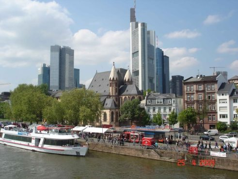 Frankfurt Germany, old building and the new blend together to make an attractive city.