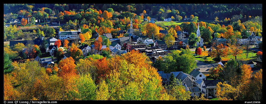 Fall In New England Wallpaper Panoramic Picture Photo Vermont Small Town With Trees In