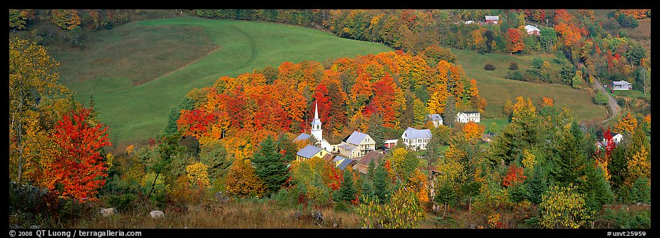 Wallpaper Scenes Of Fall Panoramic Picture Photo Vermont Village And Hill In