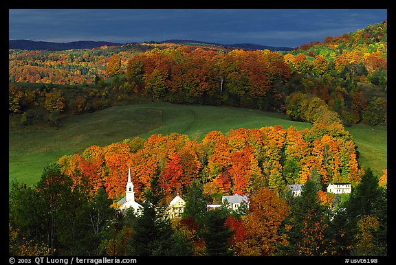 Fall Desktop Wallpaper Themes Picture Photo Church And Houses In Fall East Corinth