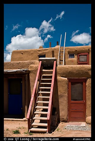 Picture Photo Ladder Used To Access Upper Floor Of Pueblo