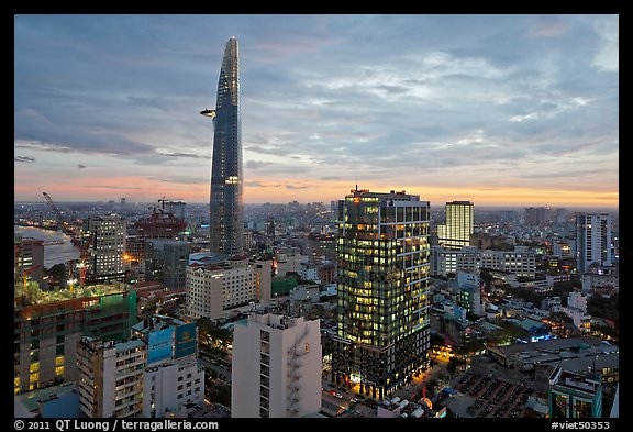 Wallpaper Full Color Hd Picture Photo Bitexco Tower And Downtown High Rises At