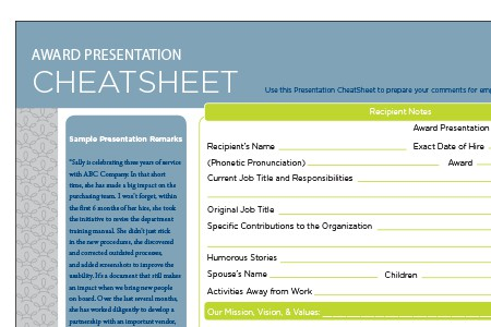 Award Presentation Cheat Sheet Terryberry - Employee Presentations