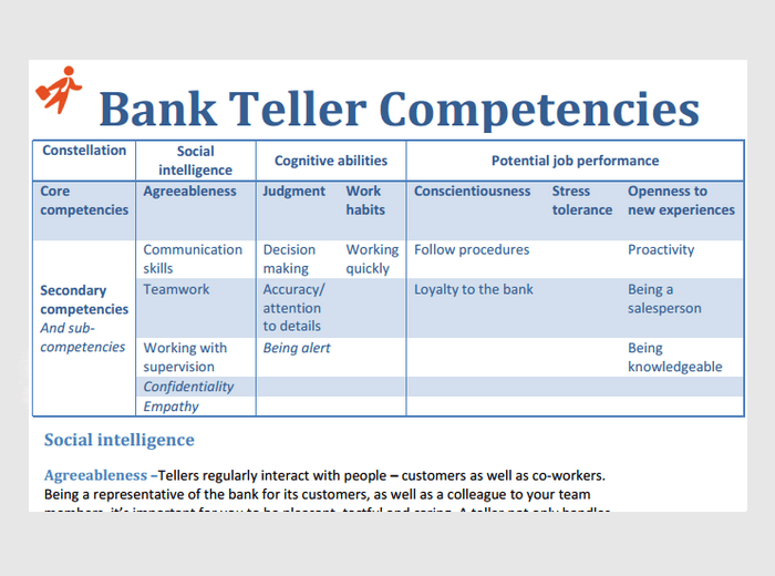 resume for a teller at a bank