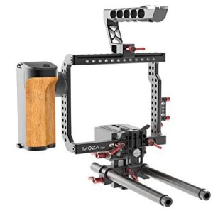 Gudsen-MZ-C-Camera-Cage-with-Remote-Power-Supply-Rodriser-for-Sony-A7s2-A7r2-GH4-BMPCC-Black-B01950SOIU