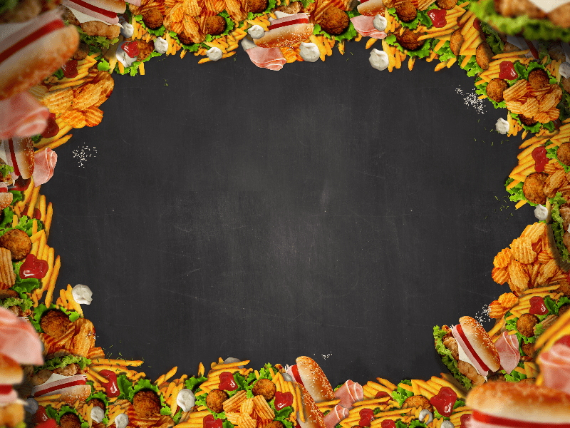 Fall Dessert Wallpaper Fast Food Restaurant Background With Chalkboard Texture
