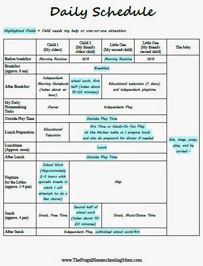 Creating a Daily Homeschool Schedule for Multiple Young Children - homeschool schedule template