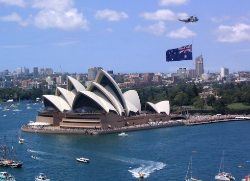 Australia Day, Sydney Harbour. View of Sydney and the Opera House