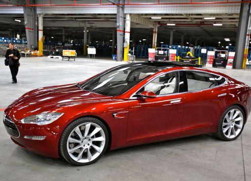 Tesla Model S electric car indoors