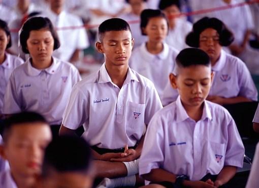 Thai students practicing Yoga