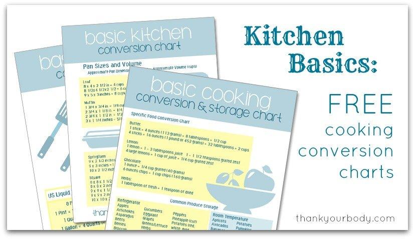 Kitchen Basics Handy Cooking Conversion Charts (FREE downloads) - cooking conversion chart