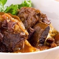 Short ribs and mushroom polenta