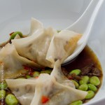 Filet mignon wontons in miso and mushroom broth