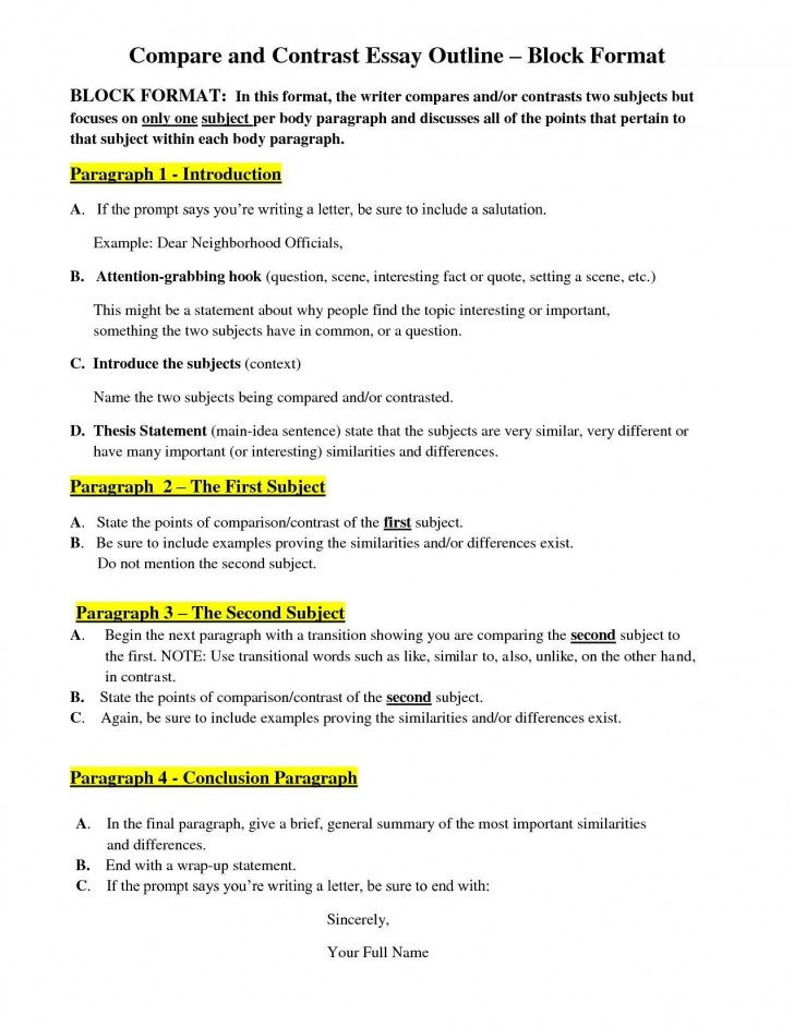 005 Comparison Essay Outline Example Thesis For Compare Contrast