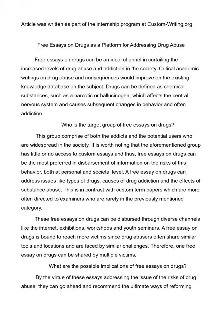002 Drug Addiction Essay Drugs Essays Topics Abuse College Pa In