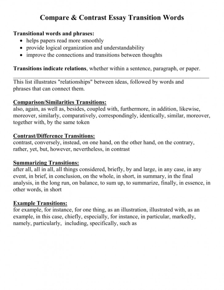 004 Transition Words For Essays Compare Contrast Essay Paragraphs